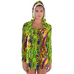 Peacock Feathers Women s Long Sleeve Hooded T-shirt by Simbadda