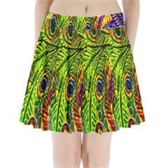 Peacock Feathers Pleated Mini Skirt by Simbadda