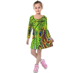 Peacock Feathers Kids  Long Sleeve Velvet Dress by Simbadda