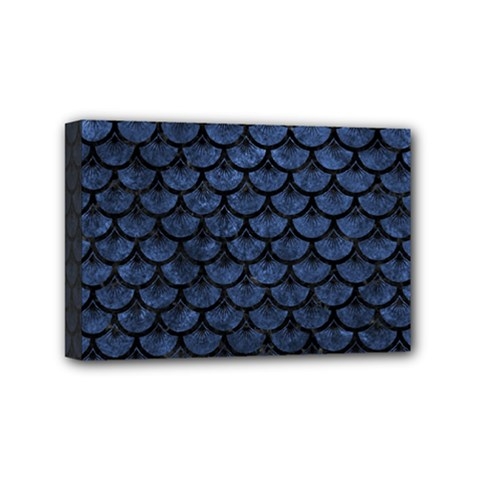 Scales3 Black Marble & Blue Stone (r) Mini Canvas 6  X 4  (stretched) by trendistuff