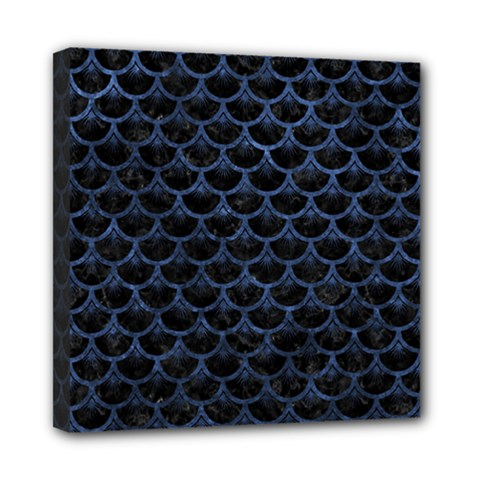 Scales3 Black Marble & Blue Stone Mini Canvas 8  X 8  (stretched) by trendistuff