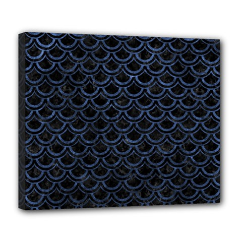 Scales2 Black Marble & Blue Stone Deluxe Canvas 24  X 20  (stretched) by trendistuff