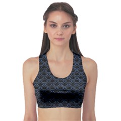 Scales2 Black Marble & Blue Stone Sports Bra by trendistuff
