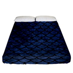 Scales1 Black Marble & Blue Stone (r) Fitted Sheet (california King Size) by trendistuff