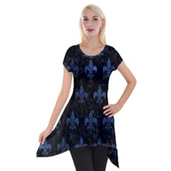 Royal1 Black Marble & Blue Stone (r) Short Sleeve Side Drop Tunic by trendistuff