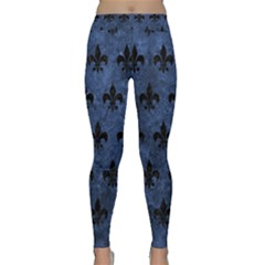 Royal1 Black Marble & Blue Stone Classic Yoga Leggings by trendistuff
