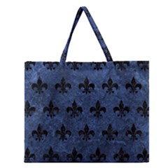 Royal1 Black Marble & Blue Stone Zipper Large Tote Bag by trendistuff