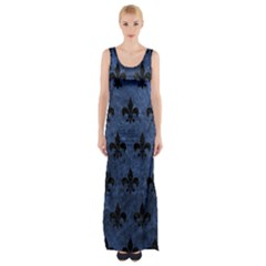 Royal1 Black Marble & Blue Stone Maxi Thigh Split Dress by trendistuff