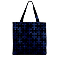 Puzzle1 Black Marble & Blue Stone Zipper Grocery Tote Bag by trendistuff