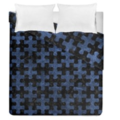 Puzzle1 Black Marble & Blue Stone Duvet Cover Double Side (queen Size) by trendistuff
