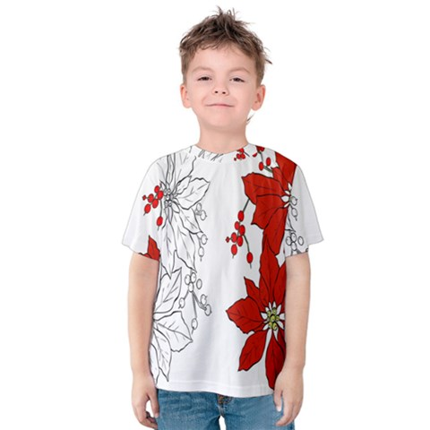 Poinsettia Flower Coloring Page Kids  Cotton Tee by Simbadda