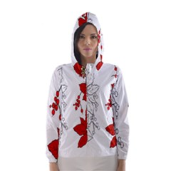 Poinsettia Flower Coloring Page Hooded Wind Breaker (women) by Simbadda