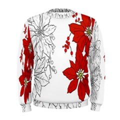 Poinsettia Flower Coloring Page Men s Sweatshirt by Simbadda