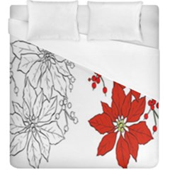 Poinsettia Flower Coloring Page Duvet Cover (king Size)