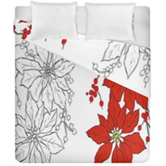 Poinsettia Flower Coloring Page Duvet Cover Double Side (california King Size) by Simbadda