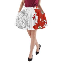 Poinsettia Flower Coloring Page A Line Pocket Skirt by Simbadda