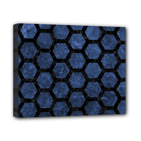 Hexagon2 Black Marble & Blue Stone (r) Canvas 10  X 8  (stretched) by trendistuff
