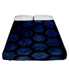 Hexagon2 Black Marble & Blue Stone (r) Fitted Sheet (queen Size) by trendistuff