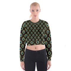 Peacock Inspired Background Women s Cropped Sweatshirt