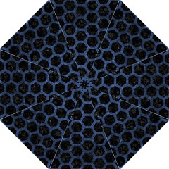 Hexagon2 Black Marble & Blue Stone Folding Umbrella by trendistuff