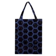 Hexagon2 Black Marble & Blue Stone Classic Tote Bag by trendistuff