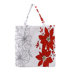 Poinsettia Flower Coloring Page Grocery Tote Bag by Simbadda