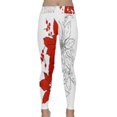 Poinsettia Flower Coloring Page Classic Yoga Leggings by Simbadda