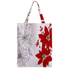 Poinsettia Flower Coloring Page Zipper Classic Tote Bag by Simbadda
