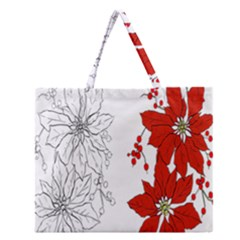 Poinsettia Flower Coloring Page Zipper Large Tote Bag by Simbadda
