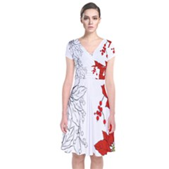 Poinsettia Flower Coloring Page Short Sleeve Front Wrap Dress
