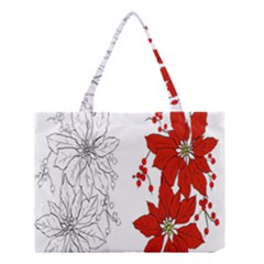 Poinsettia Flower Coloring Page Medium Tote Bag by Simbadda