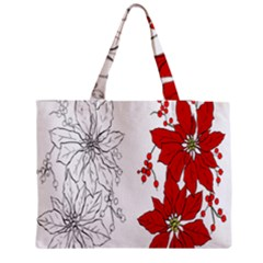 Poinsettia Flower Coloring Page Medium Zipper Tote Bag by Simbadda