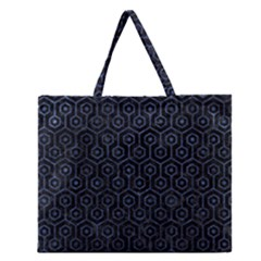 Hexagon1 Black Marble & Blue Stone Zipper Large Tote Bag by trendistuff