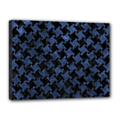 Houndstooth2 Black Marble & Blue Stone Canvas 16  X 12  (stretched) by trendistuff