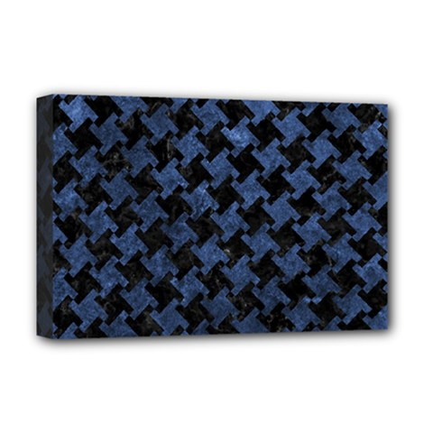 Houndstooth2 Black Marble & Blue Stone Deluxe Canvas 18  X 12  (stretched) by trendistuff