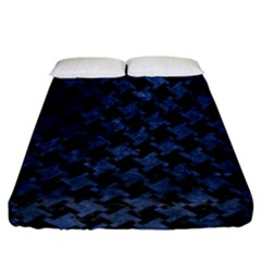 Houndstooth2 Black Marble & Blue Stone Fitted Sheet (california King Size) by trendistuff