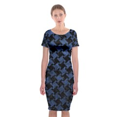 Houndstooth2 Black Marble & Blue Stone Classic Short Sleeve Midi Dress by trendistuff