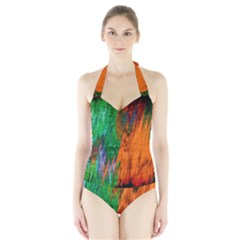 Watercolor Grunge Background Halter Swimsuit by Simbadda