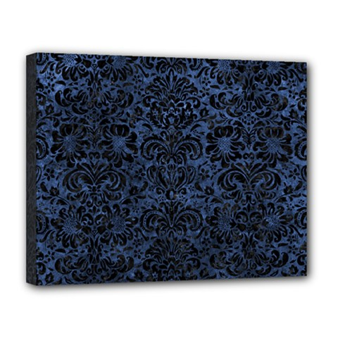 Damask2 Black Marble & Blue Stone (r) Canvas 14  X 11  (stretched) by trendistuff