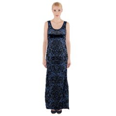 Damask2 Black Marble & Blue Stone (r) Maxi Thigh Split Dress by trendistuff