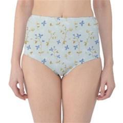 Vintage Hand Drawn Floral Background High-waist Bikini Bottoms by TastefulDesigns