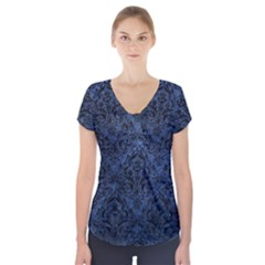Damask1 Black Marble & Blue Stone (r) Short Sleeve Front Detail Top by trendistuff