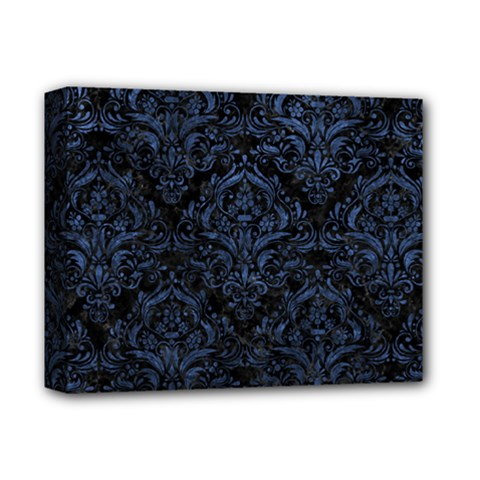 Damask1 Black Marble & Blue Stone Deluxe Canvas 14  X 11  (stretched) by trendistuff