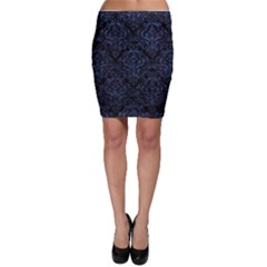 Damask1 Black Marble & Blue Stone Bodycon Skirt by trendistuff