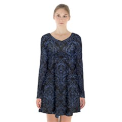 Damask1 Black Marble & Blue Stone Long Sleeve Velvet V Neck Dress by trendistuff