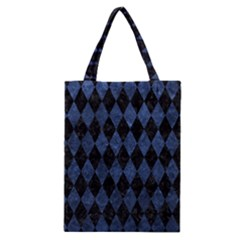 Diamond1 Black Marble & Blue Stone Classic Tote Bag by trendistuff