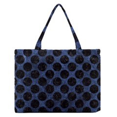 Circles2 Black Marble & Blue Stone (r) Medium Zipper Tote Bag