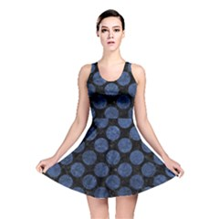Circles2 Black Marble & Blue Stone Reversible Skater Dress by trendistuff