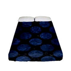 Circles2 Black Marble & Blue Stone Fitted Sheet (full/ Double Size) by trendistuff