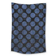 Circles2 Black Marble & Blue Stone Large Tapestry by trendistuff